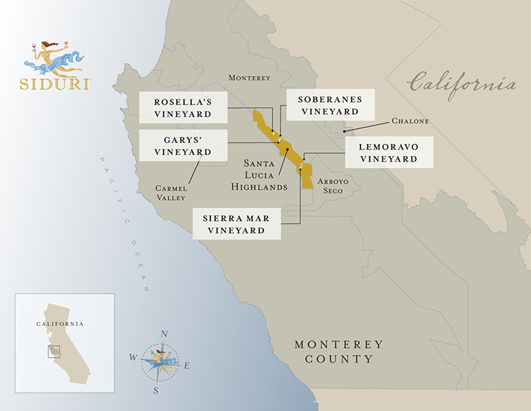 Santa Lucia Highlands Vineyard map
