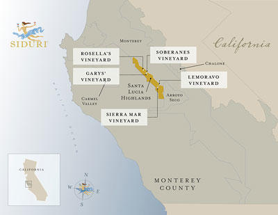 Santa Lucia Highlands Vineyard map overview